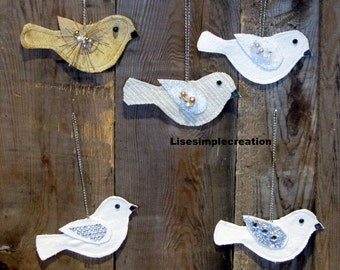 Bird ornaments, Shabby chic ornaments, French country Holiday ornaments, Linen christmas ornaments, Fabric christmas ornament, Gift ornament