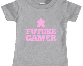 Future Gamer Toddler Tee Shirt (Soft Pink Letters) | t-shirt for your pre-school toddler and future gaming partner | geek babies & kids