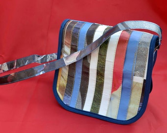 Recycled Vinyl Banner purse - eco friendly handbag - save the earth - adjustable strap