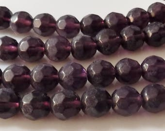 "Dark Purple 12mm Faceted Round Glass Beads (13"" Strand)"