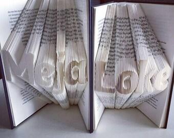 Book Folding Name/Date/Anniversary (Custom made)