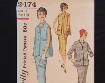 1958 Simplicity 2474 Maternity Dress Pattern Misses and Junior Size 11 Bust 31.5