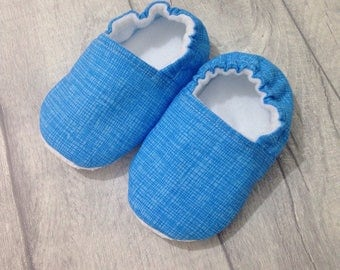 Blue baby shoes, soft sole baby shoes, baby slippers, baby booties