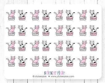 Kawaii Clean Cat Litter Box Planner Stickers Pink Kitty Stickers