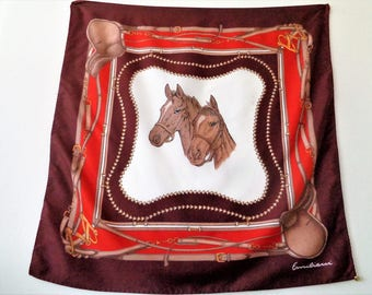 Horses Scarf, Equestrian Scarf, Emiliani Horses Scarf, Polyester, Brown and Orange Scarf,