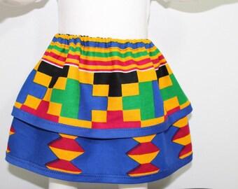 Two tiered ruffle skirt, African girl skirt, Kente girl skirt-Dessin