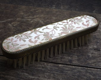 Small vintage clothing brush / brush wood and brass vintage / brush with tissue former made in France