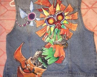 Skull Kid Hand Painted Denim Vest