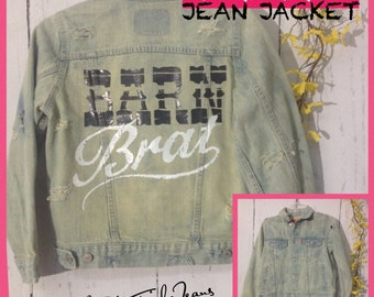 Levis kids sz med Barn Brat jean jacket,upcycled with bleaching,distressing, and pressed with Barn Brat decal on back!
