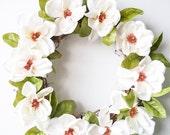 Magnolia Wreath - Floral Wreath - Everyday Wreath - White Wreath - Gift for Her - Door Wreath - Wreath - Wreaths - Front Door Wreath