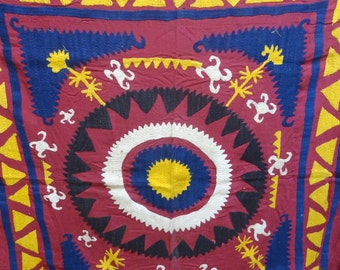 Uzbekistan Suzani Rug,Beautiful Hand Embroidery Suzani,Made All By Needle Work Perfect For Home Deco