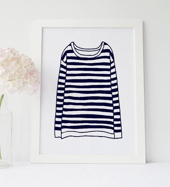 Sailor shirt print navy blue striped t shirt french for Costco t shirt printing