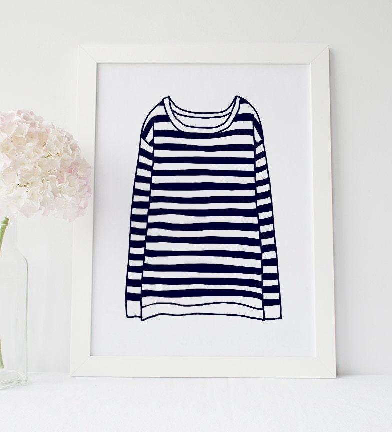 Sailor shirt print navy blue striped t shirt french for Striped french sailor shirt