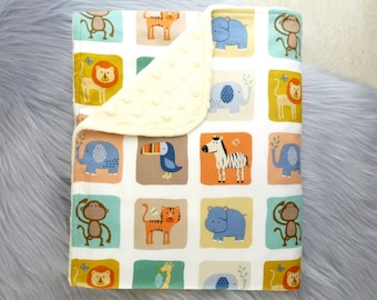 Baby Blanket, Baby Boy Gift, Baby Boy, Baby Shower Gift, Nursery Decor - Zoo Animals