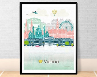 Vienna print poster Wall art Vienna skyline Vienna Austria Europe City poster Printable download Home Decor Digital Print GreenGreenDreams