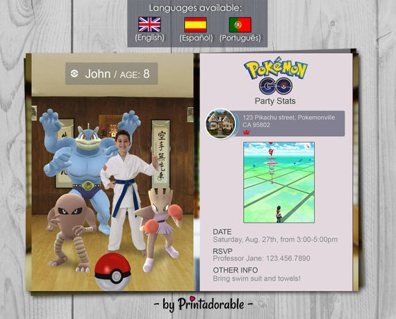 Pokemon GO Fighting type Birthday Invitation - Digital Pokemon Invite - Choose your Type, Pokemons and Background!