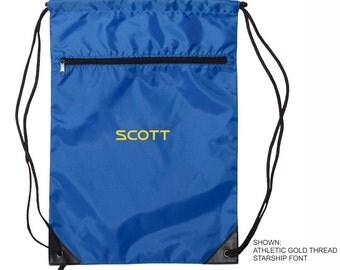 Personalized Drawstring Bag, Embroidered Cinch Bag, Custom Gift Bag, Monogrammed Book Bag, Gift for Her, Gift for Him. 8888