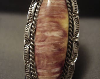One Of The Largest Navajo Spiny Oyster Silver Ring- Ben Begaye!