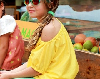 Girls one side off shoulder top/ Toddlers one shoulder top/ Off the shoulder shirt/ Bardot top/ Cotton top/ Gathered summer top/ Yellow top