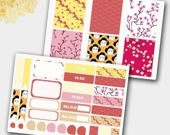 Weekly Sticker Set in Japanese Style, Stickers Inspired by Japan, Sakura Stickers, Planner Stickers, Stickers, Cherry Stickers