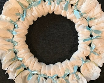 Baby boy diaper cake wreath