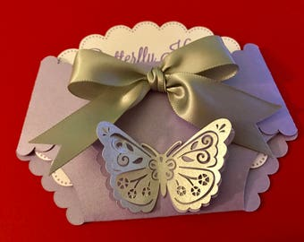 Butterfly diaper baby shower invitation lavender color with gray