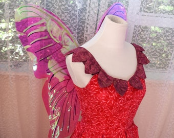 Iridescent Butterfly Fairy Wings with Pink and Purple Ombre Frame