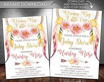 Dreamcatcher Baby Shower Invitation, Coachella Baby Shower Invitation, Dream Catcher, Pink Gold, Instant Download, Digital or Printed #624