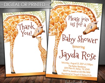 Giraffe Baby Shower Invitation, Giraffe Baby Shower Invite, Giraffe Invitation, Giraffe Baby Sprinkle, Yellow Brown, Digital or Printed #664
