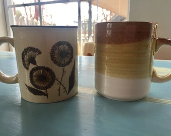 Vintage mix and match set brown coffee mugs