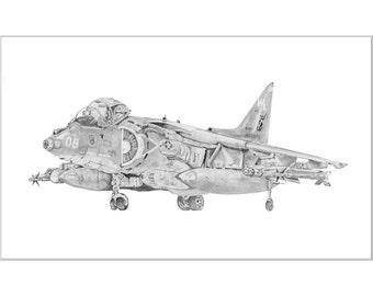 AV8B Harrier Print, Aviation Art Print, AV8B Harrier II Night Attack, USMC, VMA 311