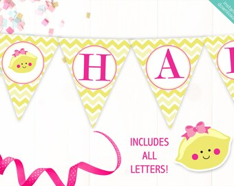 Instant Download Lemon Printable Party Banner, Lemonade Happy Birthday banner, Lemon Baby Shower Banner, Includes ALL Letters + Ages