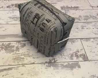 Handmade Grey Sewing Print Cosmetic Bag