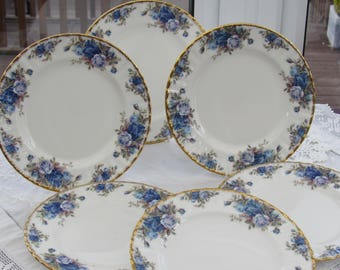 Royal Albert, Moonlight Rose, Salad Plate, 8 Inch Side Plate, 1987, Made in England, Vintage China Plate