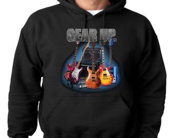Guitar Hoodie Gear Up Electric Acoustic Guitars Hooded Sweatshirt