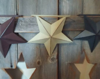 Metal Stars, Set of 3, Red, White, Blue, Hanging Stars or Sitting Stars, Self Standing