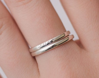 Tiny Stacking Ring - Sterling Silver, Personalized, Hand Stamped