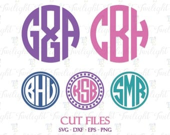 Circle Monogram Cut Files, Circle Monogram SVG Files, Circle Monogram DXF Files, Circle Monogram Font SVG Cut Files 0071
