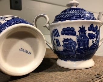 Vintage Blue Willow China Sugar and Creamer Japan- FREE SHIPPING