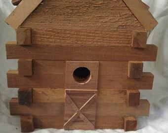 Cedar Log Cabin , birdhouse