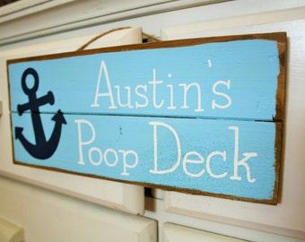 Poop deck sign, nautical nursery, custom name sign
