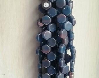 Hodge Podge Honeycomb Blue Lumi, Hex 2-Hole Beads Czech Glass 6mm, 699995-14464 30 beads
