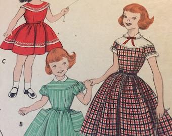 Vintage 1950's BUTTERICK #7421 Dress Pattern Girls Sz 6