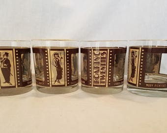 ROARING TWENTIES GLASSES Barware Tumblers Gold Trimmed Lowball Whiskey Hollywood Set of 4 Silent Movie Actors Vintage