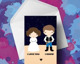 Princess Leia & Han Solo - Star Wars - Valentines Card