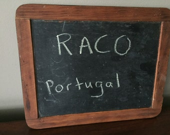 Vintage chalkboard, slate with wood frame, raco made in Portugal