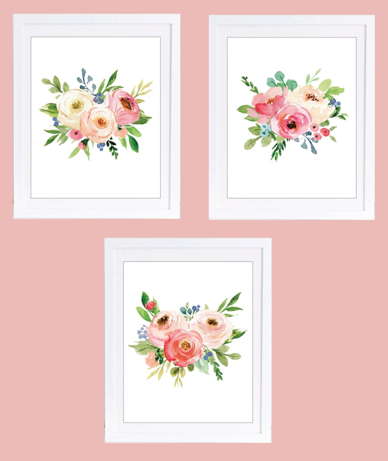Set of 3 prints floral nursery prints printable art 8 x 10 for Floral wall art