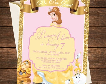 Beauty and the Beast Invitation | Beauty and the Beast Birthday | Beauty and the Beast Party | Belle Invitation |Belle Party |Princess Party