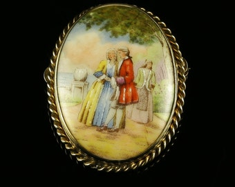 Limoges French Brooch Antique Victorian