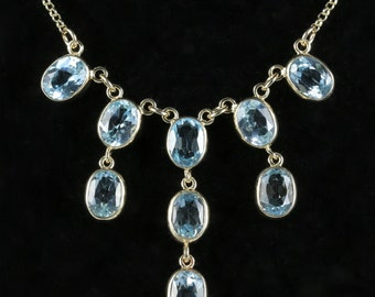 Blue Topaz 9ct Yellow Gold Necklace